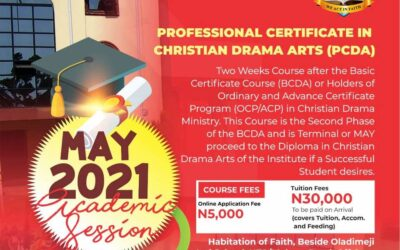 PROFESSIONAL CERTIFICATE IN CHRISTIAN DRAMA ARTS (PCDA)